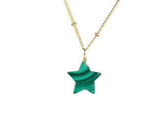 Star necklace - malachite necklace - green star necklace - green stone necklace - star jewelry
