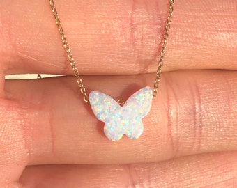 Opal butterfly necklace, fire opal pendant, gift for her, colorful charm, a dainty butterfly on a 14k gold filled or sterling silver chain