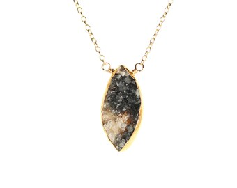 Diamond druzy necklace - raw crystal necklace - geode necklace - a gold bezel set black druzy wire wrapped onto a 14k gold vermeil chain