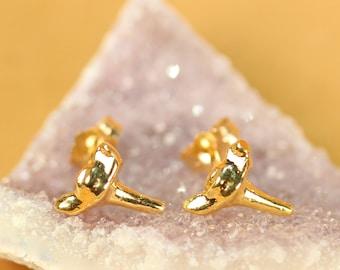 Shark tooth earrings - shark tooth studs - gold sharks teeth earrings - beach earrings - summer earrings - boho jewelry