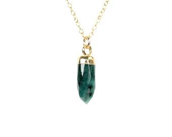 Emerald necklace - spike necklace -  green gem necklace - crystal necklace - African emerald necklace