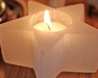 Star candle holder, selenite candle holder,  tea light candle holder, white candle holder, tea light star, healing crystal, gift under 20