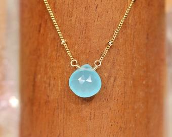 Chalcedony necklace, blue gemstone necklace, layering necklace, solitaire, saints blue gem necklace