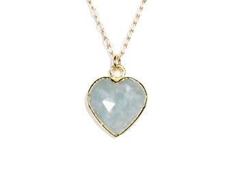 Aquamarine heart on a 14k gold filled chain, crystal necklace, healing heart jewelry, march birthstone jewelry, gemstone heart pendant