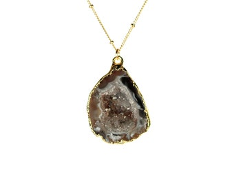 Geode necklace - druzy necklace - raw crystal necklace - A gold lined geode cave on 14k gold filled satellite chain