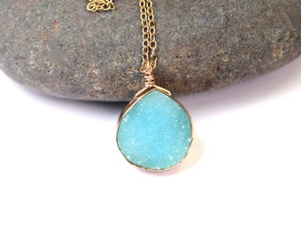 Druzy necklace - gold bezel druzy - raw crystal necklace - a sky blue druzy wire wrapped onto a 14k gold vermeil chain