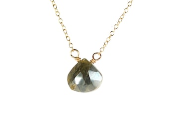 Labradorite necklace, crystal necklace, gemstone teardrop pendant, healing stone, labradorite wire wrapped onto a 14k gold filled chain