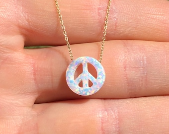 Peace necklace on a 14k gold vermeil chain, opal peace symbol jewelry, peace sign necklace, opal jewelry, happy gift idea