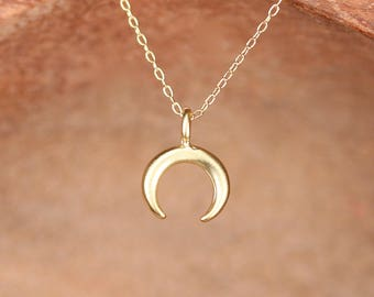 Tiny double horn necklace - gold crescent necklace - silver crescent necklace - gold double horn