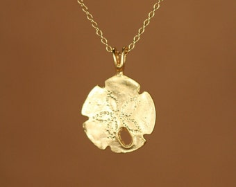 Sand dollar necklace - gold sand dollar - beach necklace - starfish - a 22k gold vermeil sand dollar on a 14k gold vermeil chain