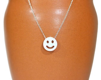 Smiley face necklace, opal happy face pendant, opal necklace, happy necklace, bff necklace, emoji necklace, kawaii, cute gift idea