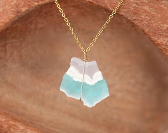 Smithsonite necklace - green mineral necklace - raw crystal necklace - a raw smithsonite on a 14k gold filled chain