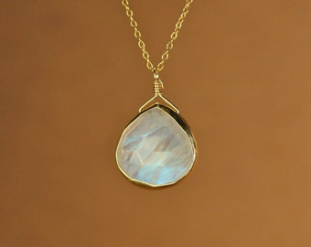 Moonstone necklace - gold moonstone - june birthstone - a fancy gold bezel set faceted moonstone on a 14k gold vermeil chain