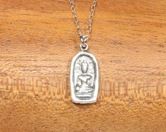 Sterling silver buddha necklace, silver yoga jewelry, zen necklace, meditation, a sterling silver buddha pendant on a sterling silver chain