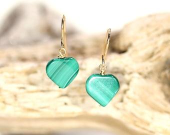 Malachite earrings - heart earrings - mothers day earrings - love earrings - green malachite - wedding earrings