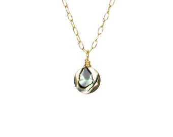 Abalone necklace, rainbow shell necklace, tiny dot necklace, hawaii necklace, tropical jewelry, circle necklace, 14k gold filled chain