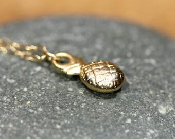 Pineapple necklace, little gold pineapple pendant, juicy fruit jewelry, fun gift idea, beach necklace, Hawaii necklace