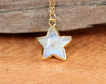 Moonstone star necklace - rainbow moonstone necklace - gold star necklace - crystal star necklace - gemstone star
