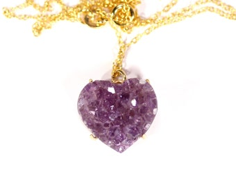 Druzy heart necklace - heart amethyst necklace - raw crystal necklace - love necklace