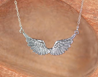 SIlver wing necklace - angel wings - flying wings necklace - double wing necklace
