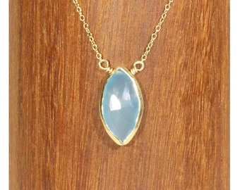 Chalcedony necklace, blue gemstone necklace, layering necklace, solitaire, marquis necklace, blue crystal pendant on a 14k gold filled chain