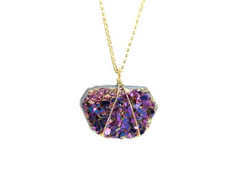 Druzy necklace, titanium aura crystal necklace, amethyst necklace, raw crystal pendant, a purple crystal on 14k gold filled chain