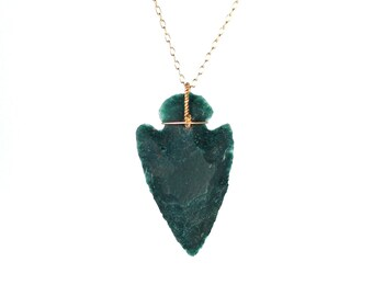 Arrowhead necklace - stone arrowhead - spear necklace - bloodstone necklace - a raw green arrowhead wire wrapped onto 14k gold vermeil chain