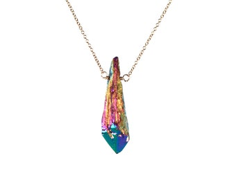 Titanium quartz crystal - crystal necklace - aura crystal - aura quartz - a rainbow crystal wand wire wrapped onto a 14k gold vermeil chain