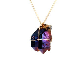 Quartz crystal necklace - titanium crystal necklace - healing crystal - a wire wrapped raw rainbow aura crystal on a 14k gold vermeil chain