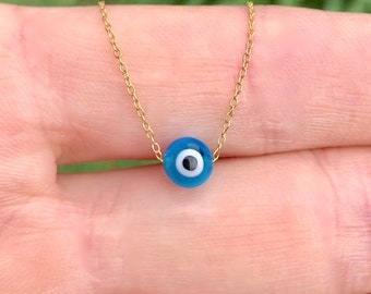 Evil eye necklace - blue evil eye - gold evil eye necklace - a little blue glass evil eye on a 14k gold vermeil chain