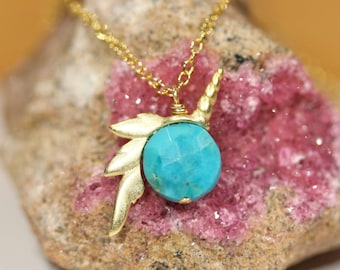 Unicorn necklace - gold unicorn - silver necklace unicorn - turquoise necklace - whimsical necklace