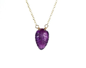 Amethyst necklace -  leaf necklace - nature necklace - a carved amethyst crystal on a 14k gold vermeil chain