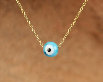 Eye necklace - gold evil eye necklace - blue evil eye - evil eye silver necklace - a little blue glass eye on a 14k gold vermeil chain