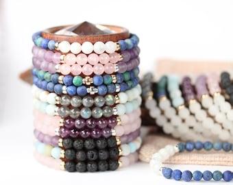 Energy bracelets - diffuser bracelets - healing stone bracelets - stacking bracelets - energy bracelets - stretch bracelets