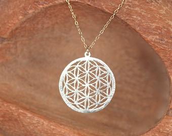 Gold mandala necklace - yoga jewelry - meditation - flower of life necklace