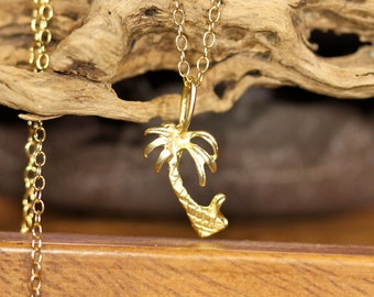 Palm tree necklace, tropical necklace, California necklace, gold palm tree pendant, beach jewelry, destination wedding gift, cute gift idea