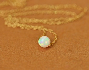 Opal necklace - opal dot necklace - tiny bead necklace - floating necklace - solitaire necklace - a tiny opal bead on 14k gold vermeil chain