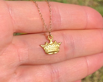 Gold crown necklace, princess crown pendant, royal crown, tiara necklace, dainty crown, - a 14k gold vermeil crown on 14k gold filled chain