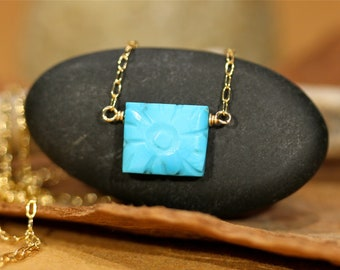 Sleeping beauty turquoise - rectangle necklace - flower necklace - dainty necklace - carved turquoise necklace