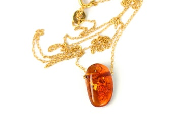 Amber necklace - baltic amber necklace - fossil necklace - healing necklace - a drop of baltic amber on a 14k gold vermeil chain