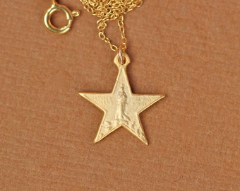 Virgin mary necklace - gold star necklace - 5 point star - a 22k gold overlay star with the virgin mary on a 14k gold vermeil chain