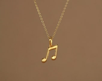 Gold music note necklace - music note - eighth note necklace - a 22k gold plated eighth note on a 14k gold vermeil chain