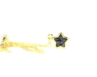 Gold star necklace - black star - druzy star - druzy jewelry - tiny gold charm necklace