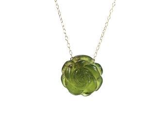 Jade rose necklace - stone rose - jade flower necklace - nature - jade pendant necklace