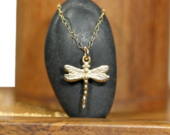 Gold dragonfly necklace, bug necklace, dragonfly pendant necklace, dainty necklace, insect necklace, tiny dragonfly in gold, whimsical