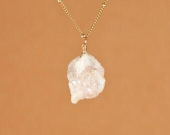 Druzy necklace, angel aura quartz necklace,  aura crystal necklace, raw crystal necklace