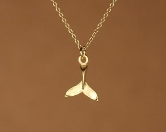 Gold whale tail necklace - whales tale - whale tail necklace - a 22k gold overlay whale tail on a 14k gold vermeil chain
