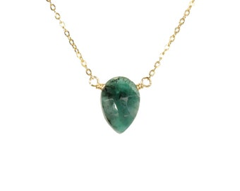 Emerald necklace, green crystal necklace, teardrop necklace, healing crystal, dainty gold necklace with green stone, 14k gold filled chain