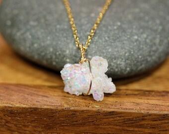 Angel aura druzy necklace, raw crystal necklace, rainbow sprarkly necklace, healing stone