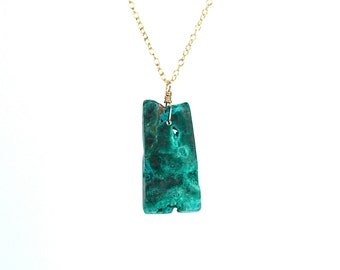 Mineral necklace - malachite necklace - chrysocolla necklace - coachella necklace - green stone necklace - mineral neckalce - AZ7